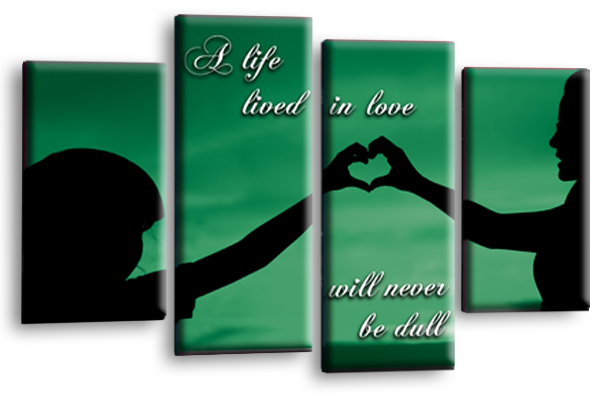Life Quote Wall Art Print Green Black Love Picture Split Panel