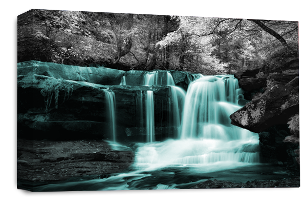 Waterfall Wall Art Teal Grey White Landscape Canvas Forrest Picture